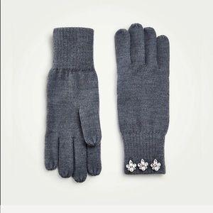 Ann Taylor crystal embellished knit gloves